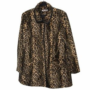 Nygard Collection Tan Leopard Tan Open Front Coat